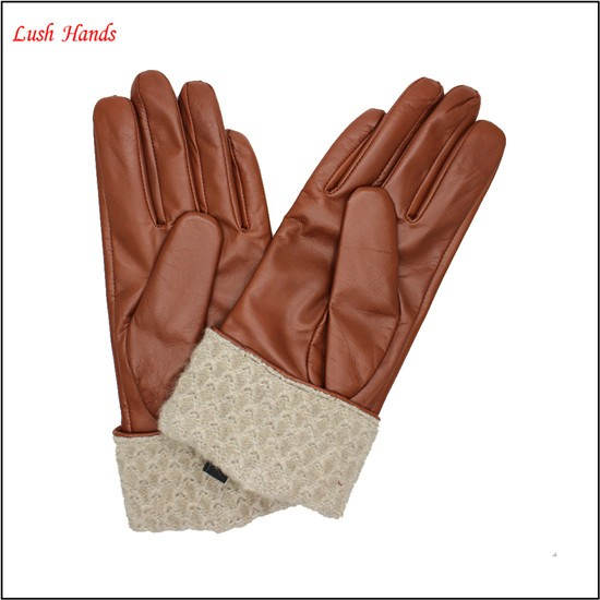 cashmere warm cuff brown leather gloves nappa ladies leather gloves