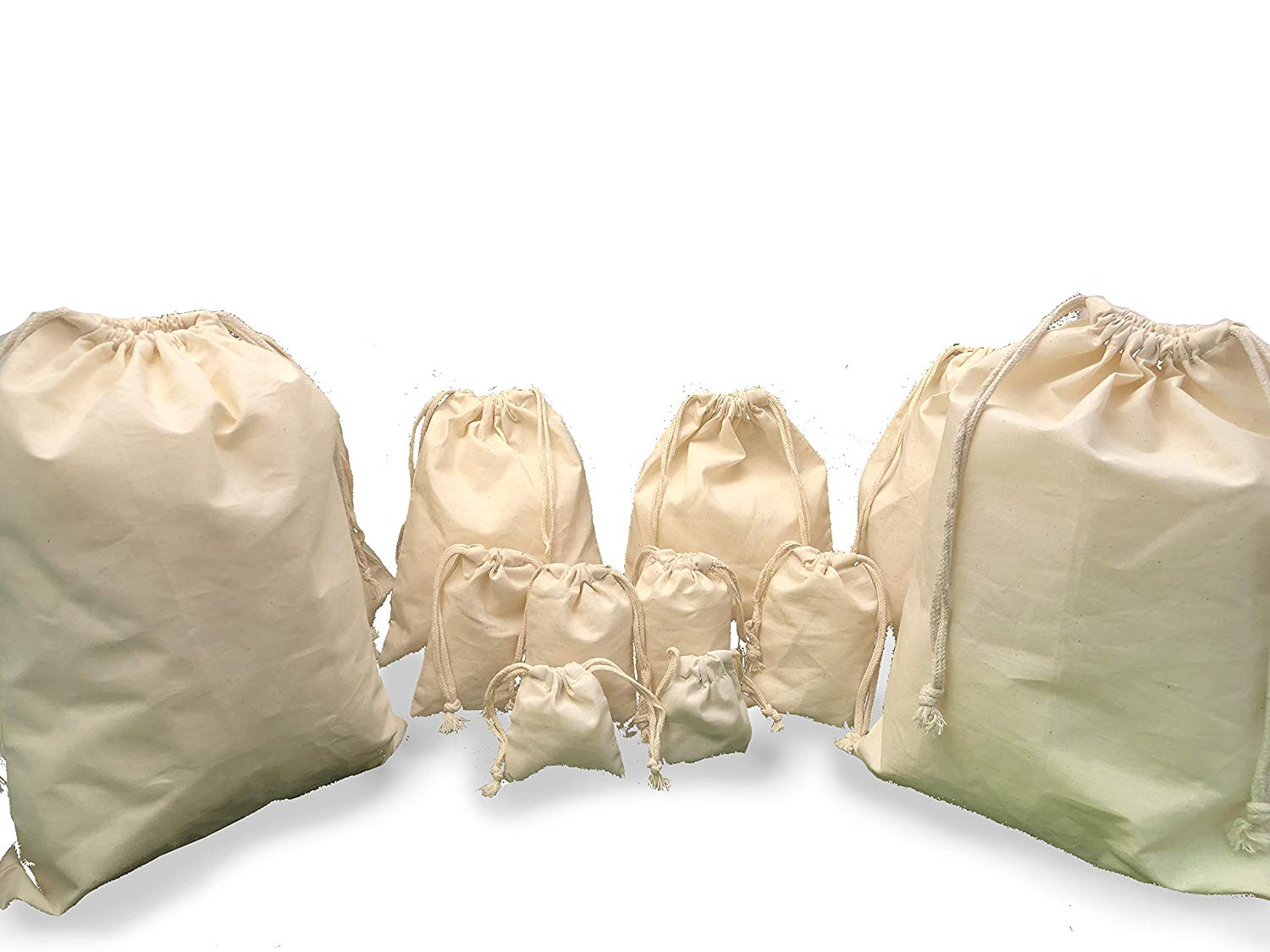 Wholesale Prices 2 x 3 Muslin Bag with Double Drawstrings 100/% Organic Cotton