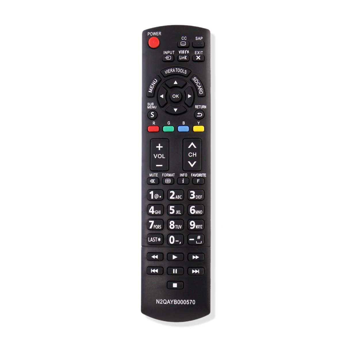 New N2QAYB000570 Replacement Remote Control Fit for Panasonic TV TC-32LX34 TC-32LX44S TC-42PX34 TC-50PX34 TC-60PS34 TC-60PS34UA TC-L37E3 TC-L37U3 TC-L42E3 TC-L42E30 TC-L42U30