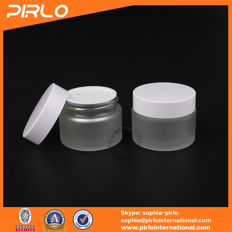 50g 50ml 1.7oz frosted glass jar with white thread lid cosmetic jar empty skin care cream glass jar