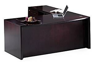 """Mayline Ct9/10 Bow Front L-Shaped Desk 72""""W X 84""""D X 29""""H Desk: 72""""W X 36""""D X 29.5""""H Return: 48""""W X 20.5""""D 29.5""""H Work Surfaces 2"""" Thick W/Beveled Edge - Mahogany - Right (Left shown)"""