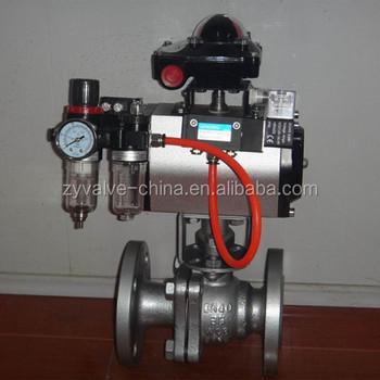Pneumatic Actuator Ball Valve Teflon Seal Api 6d With Positioner ...