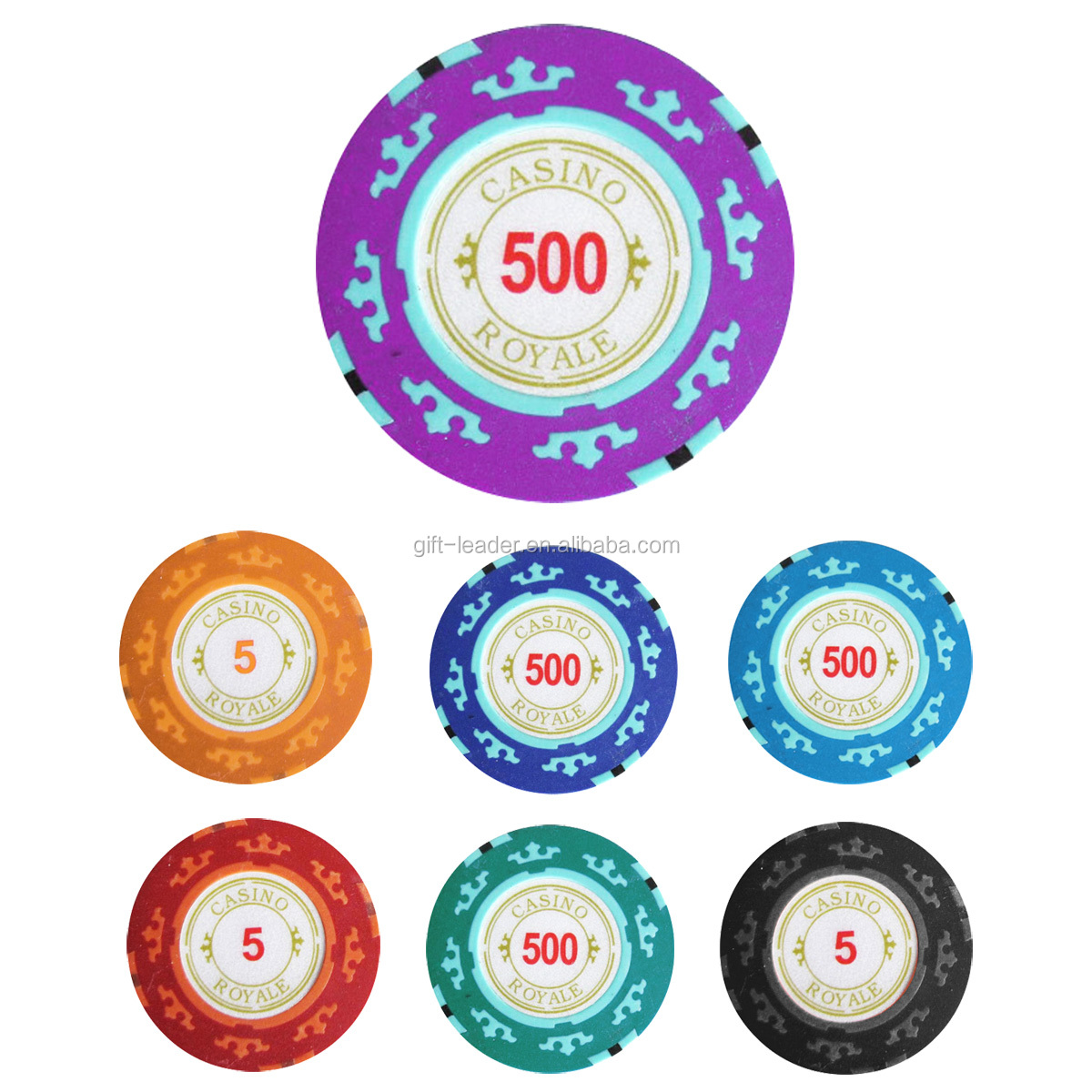 40 mm size standard double sides OEM print premium gamble cheap diameter striped mini plastic clay casino custom poker chips