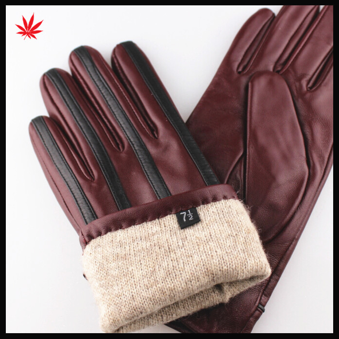 High quality wholesale leather gloves woman winter sheep leather gloves