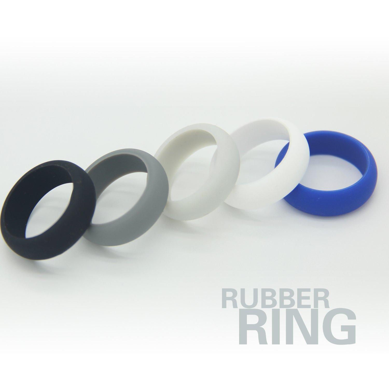 Silicone Wedding Ring For Men - Round Edges With Flexible Work Safety Design ,5Packs, (Black, White,Blue, dark blue, Ultramarine, 12) (Black, Gray,White,light gray, Ultramarine, 11)