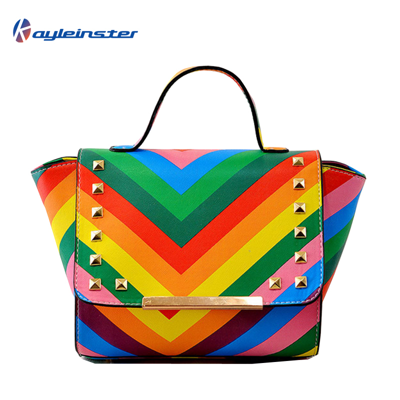 Hot Sale! 2015 Rainbow Women Handbag Zipper Hasp Lady Rivet PU Leather Messenger Bag Trapeze Stripe Cross-body Tote Shoulder Bag