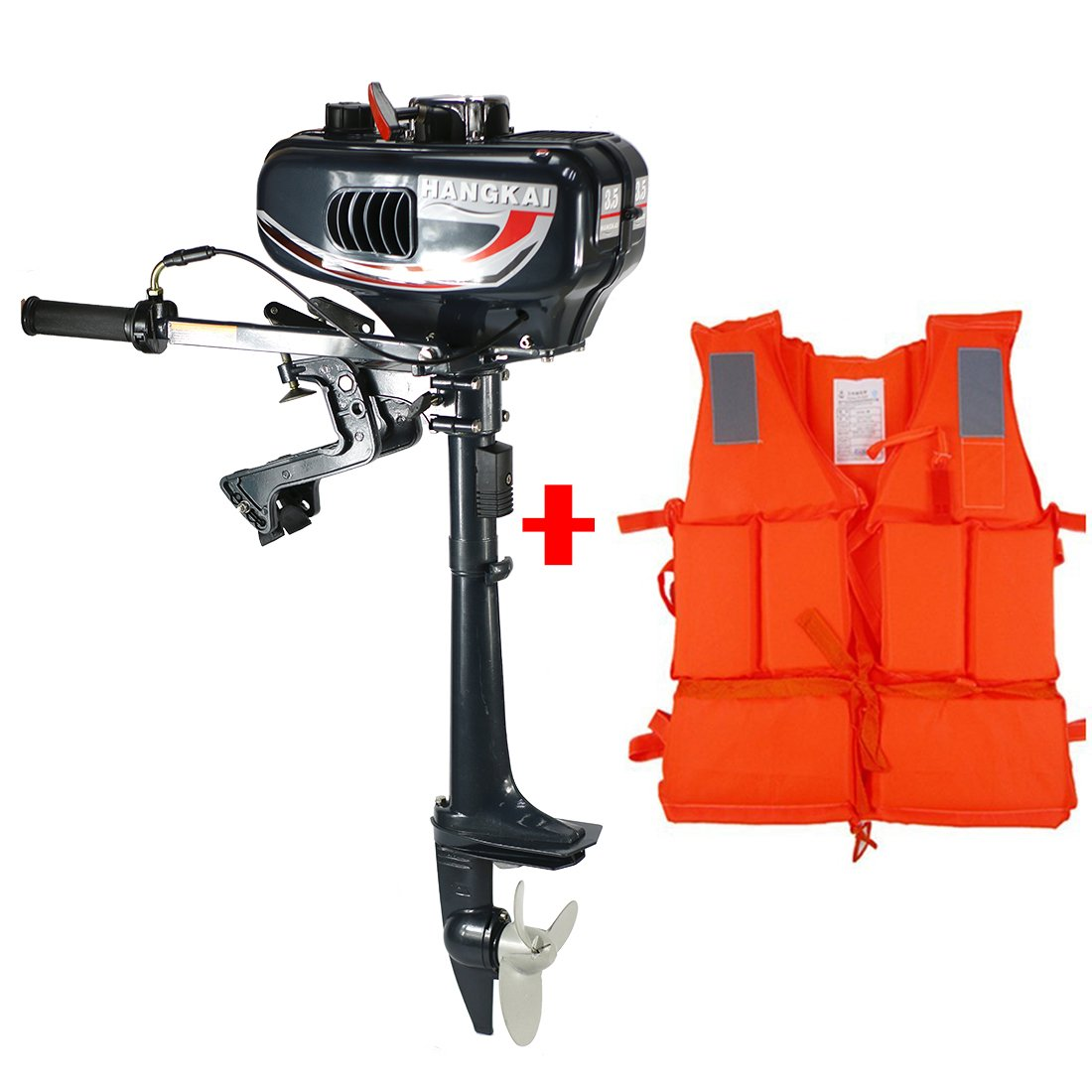 Yaufey 3.5hp Outboard Motor 2 Stroke Inflatable Fishing Boat Engine with Water Cooling System for Inflatable Boats, Fishing Boats, Sailboats, and Small Yachts & Motor+Life Vest.