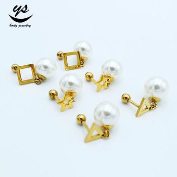 55694236600 Stainless Steel 24k Gold Plated Pearl Stud Earrings - Buy Pearl ...