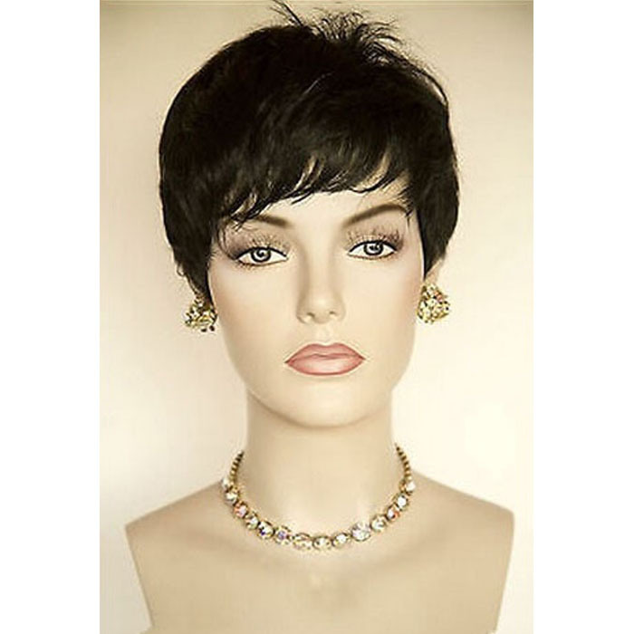 Рианна прическа черный парик короткий путь эльфа парики для чернокожих женщин короткие черные парики жаропрочных синтетический черный парик