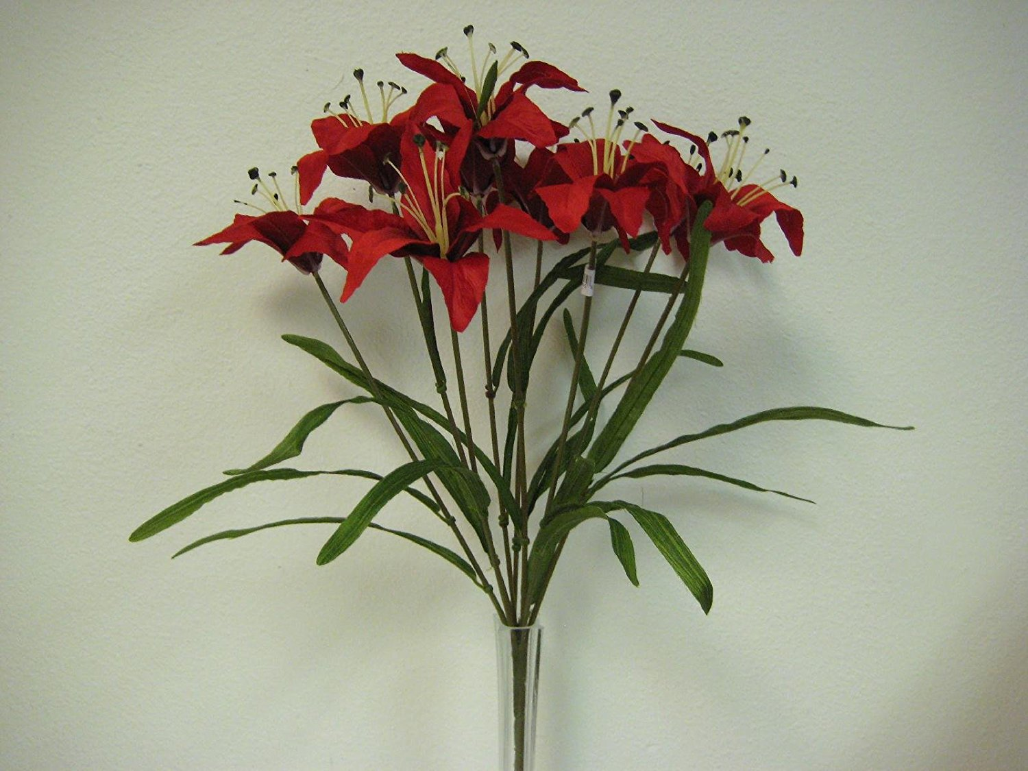 Cheap artificial tiger lily find artificial tiger lily deals on get quotations red tiger lily bush artificial silk flowers 20 bouquet 9 435rd izmirmasajfo