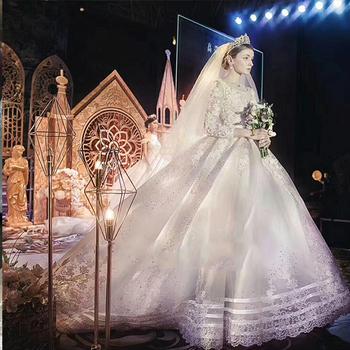 Best Sales Beauty Bride Wedding Gown Long Sleeve Muslim Bridal