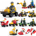 6 pcs DIY Military toys 3D small car Building Blocks brinquedos Traffic toy car Action figures