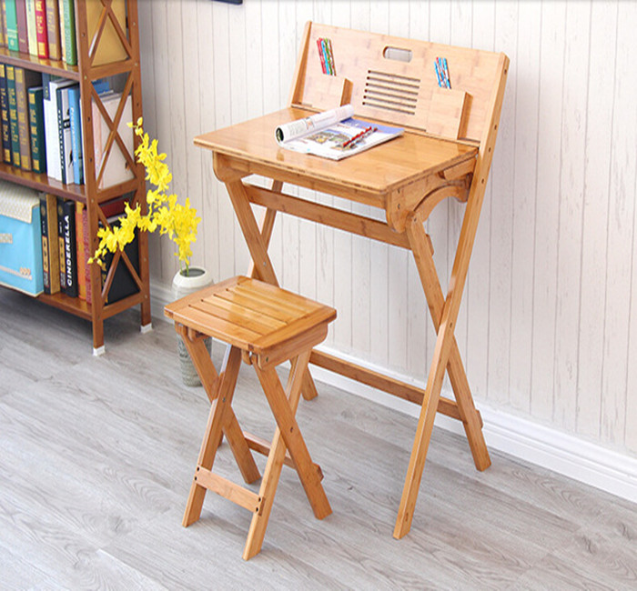 Durable and Enviroment Friendly Bamboo Foldable Study Table and Chair Set for Kids