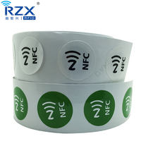 ISO14443A HF 13.56Mhz NTAG215 RFID NFC Waterproof PVC Sticker For Data Transmission