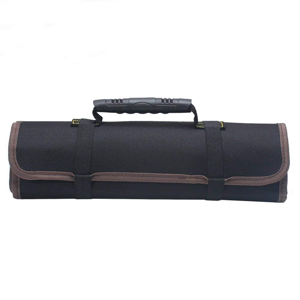 Large Wrench Roll Portable Tool Roll Pouch/Bag/Carrier 22 Pockets with 1 Zippered Pouch Coiling Block Bag Wera Tools Truck Tool Box Big Tote Carrier Socket Tray Electricians Organizer BD0006 (black)