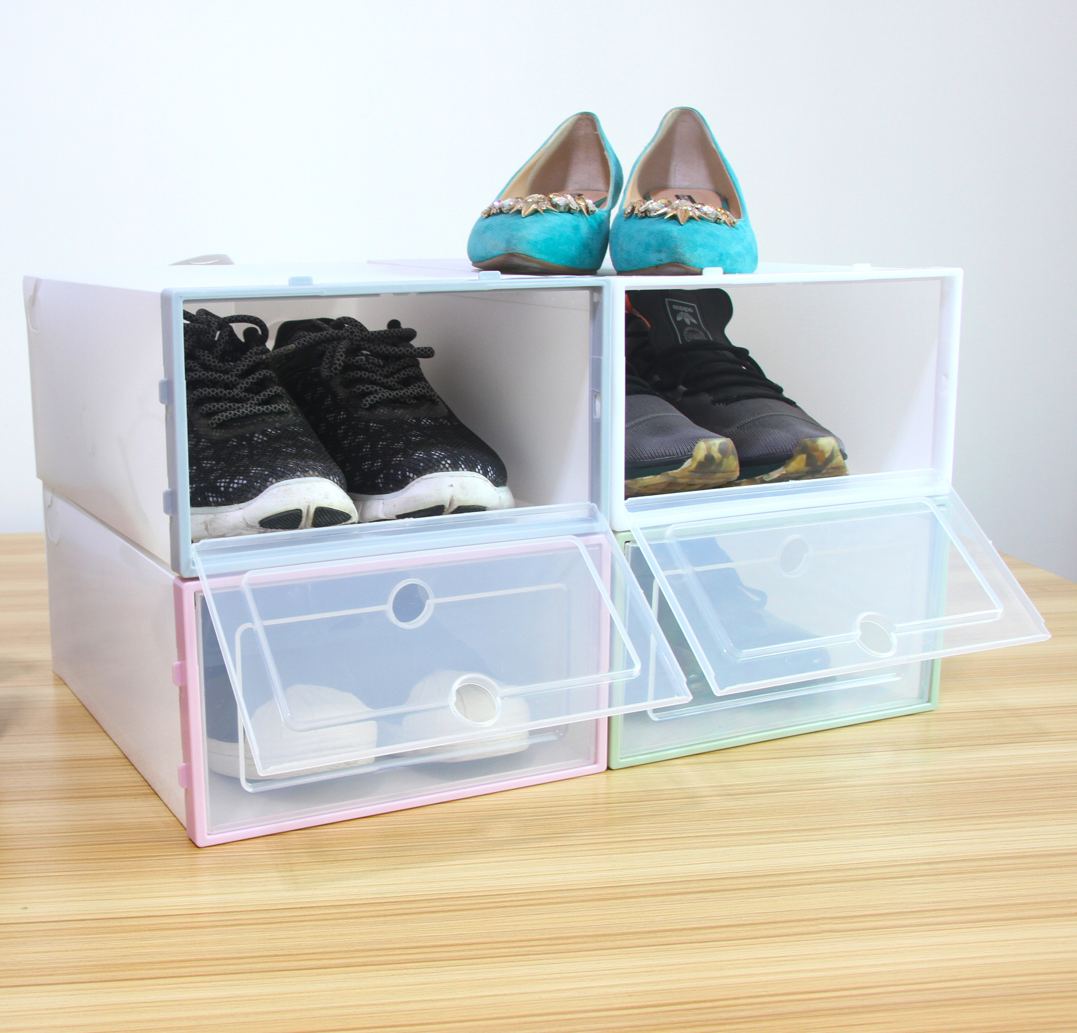 DIY Klapp Schuhkarton Clamshell Schuhe Aufbewahrungsboxen