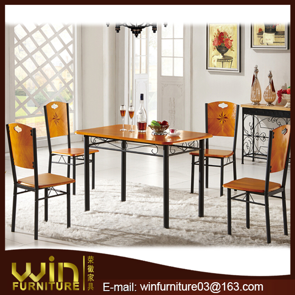 oak wood veneer dining table and chair wooden dining table set