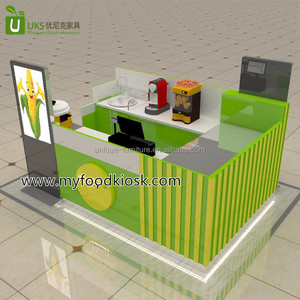 Various sweet corn kiosk, corn retail mall kiosk design and custom counters with walls