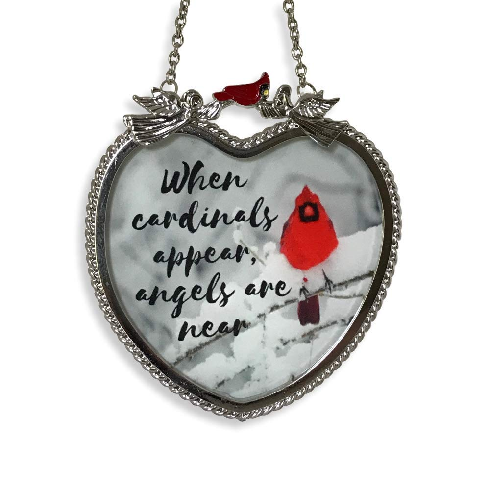 BANBERRY DESIGNS Memorial Cardinal Suncatcher - When Cardinals Appear Angels are Near Saying - Heart Shaped Glass Sun Catcher with Cardinals and Winter Scene