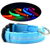 Wholesale Adjustable Nylon Night Safety Flash Light LED Pet Dog Collar Dog Accessories