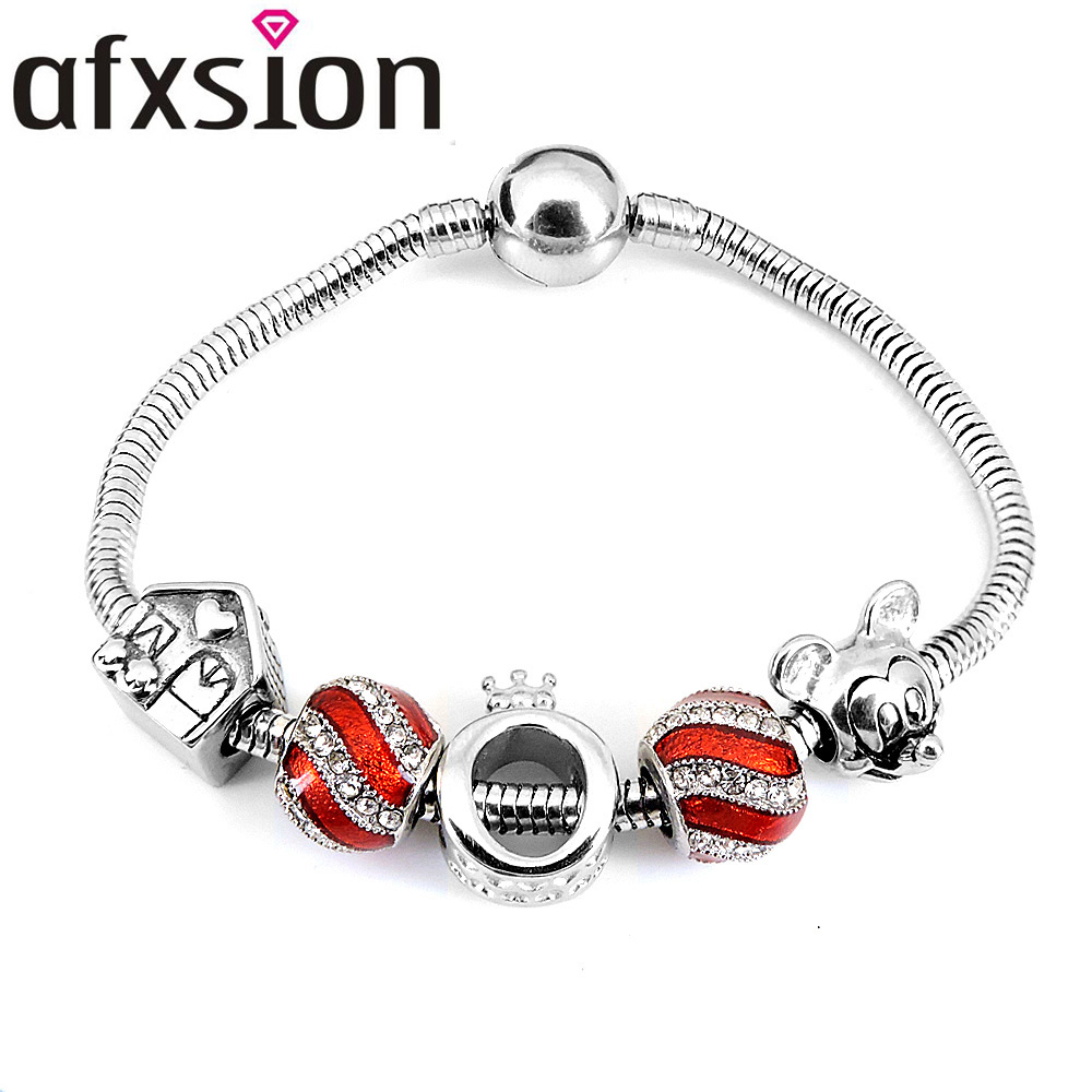 AFXSION Classic best selling high quality jewelry bracelet accessories pandora charms Stainless steel Charm bracelet women