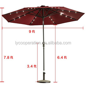 Outdoor Sunshine Solar Powered Led Lights Patio Umbrella Crank Tilt