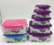 5pcs Airtight food grade Storage Containers set, Rectangle Plastic bpa free locking food Lunch Boxes