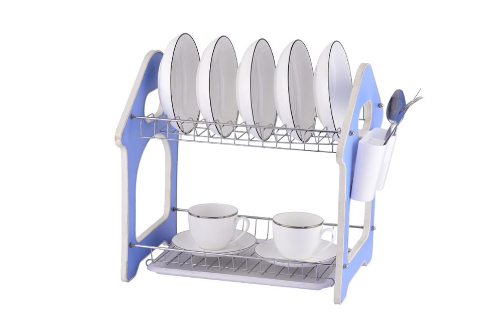 Kitchen Dish Drainer Rack with Tray for Drying Cup, Silverware, Bowls, Plates