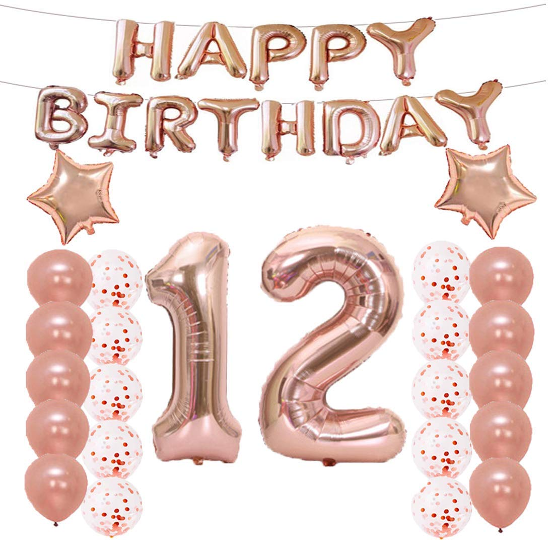 12th Birthday Decorations Party Supplies,12th Birthday Balloons Rose Gold,Number 12 Mylar Balloon,Latex Balloon Decoration,Great Sweet 12th Birthday Gifts for Girls,Photo Props