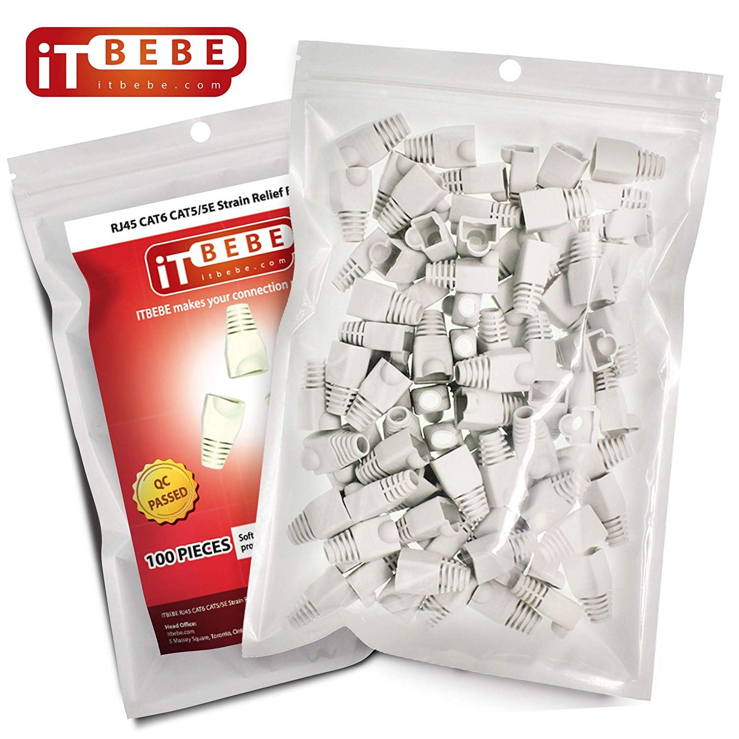 RJ45 Strain Relief Boot Covers 100-Count Set for Cat5 Cat5e, Cat6 and Cat6A Ethernet Connectors (White)