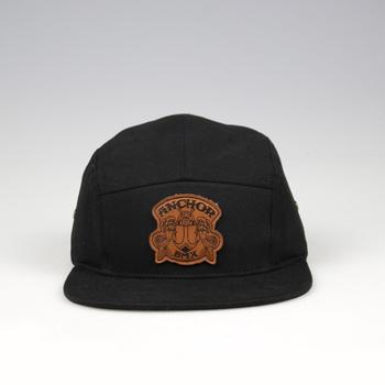 7a222fecb9 Wholesale leather patch 7 panel sport hats black snapback hat flat brim cap
