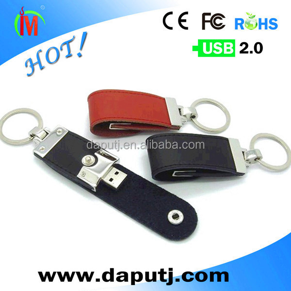 black leather usb 8GB with round keychain for business <strong>promotions</strong> with logo free print shenzhen usb stick factory