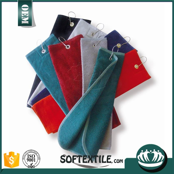 custom wholesale stock novelty logo sublimated pocket cotton waffle/microfiber weave golf towels with grommet and hooks clip