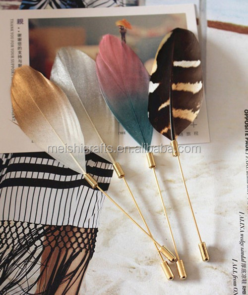 ae6aa0b5a59 Men Women REAL Feather Gold Plug Lapel Stick Hat Prom Corsage Wedding Pin  Brooch