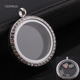 Round Shape Stainless Steel Photo Picture Frame Pendant W/ Crystal