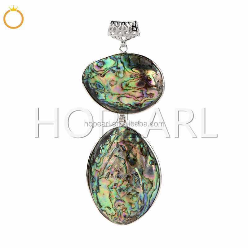 MOP170 Ocean Resort Gift Genuine Seashell Jewelry Made From Two Abalone Paua Shells Big Pendant