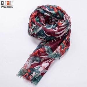 Custom women Printed Flower Woven Viscose Hijab Shawl Scarf