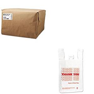 KITBAGSK1652IBSTHW2VAL - Value Kit - Inteplast Group T-Shirt Thank You Bag (IBSTHW2VAL) and Duro Paper Bag SK1652 1/6 Natural 52# Paper Grocery Bags (BAGSK1652)