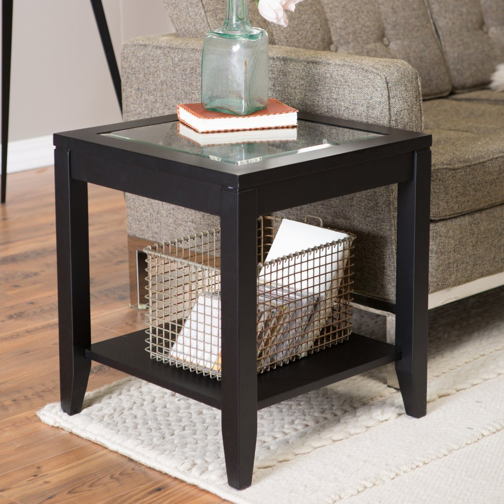 Wooden Frame Glass Top End Table With Quatrefoil Underlay Table Top