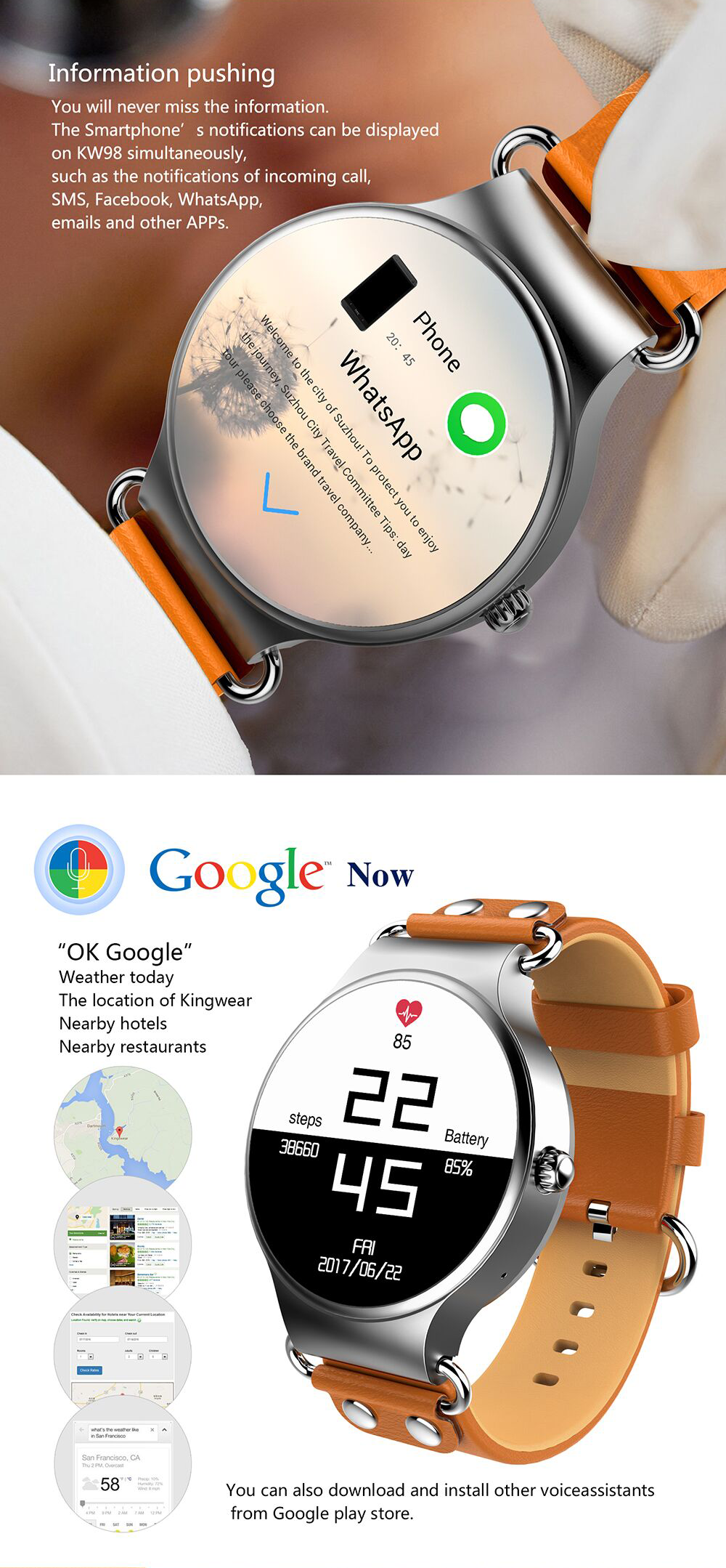 2019 OEM China Factory KingWear 1.39 inch Android 5.1 WIFI Heart Rate Monitor Sport 3G Smartwatch Phone