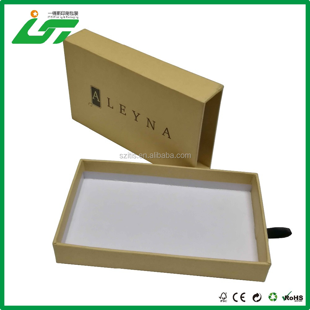 OEM custom small brown kraft cardboard slide jewelry box and drawer jewelry box with ribbon handle