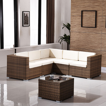 Outdoor Leisure Plastic Rattan Furniture Garden Corner Sofa Set