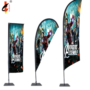 Eco polyester display teardrop beach flag with aluminum and fiberglass pole for sale