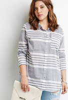 Fashion long sleeve stripe blouse for fat women,plus size women clothing