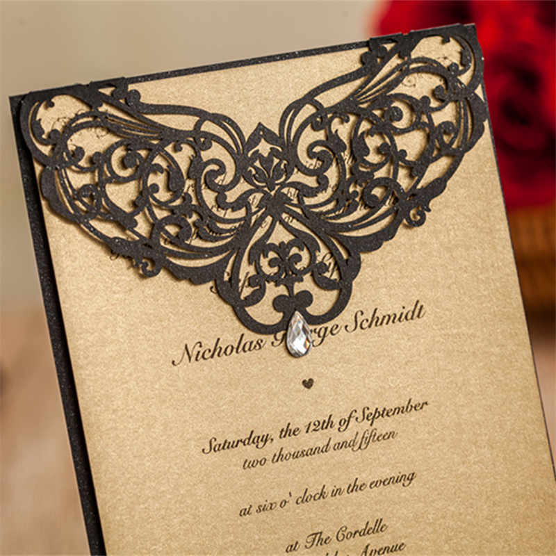 wedding decoration with gemstone invitation card with