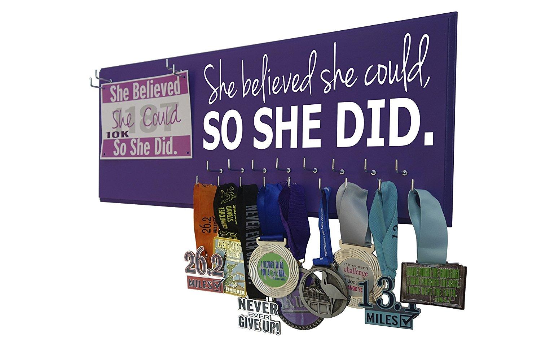 Running on the Wall, Running Medal Hanger, Running Medal Display and Race Bibs - SHE BELIEVED SHE COULD, SO SHE DID - Running medal holder, Gift for runner.