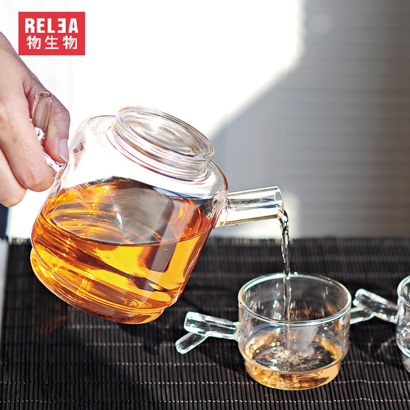 RELEA petit pyrex théière en verre avec spécial fourche poignée et ...