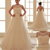 2017 Ball Gown Soft Tulle wedding dress with Embroidered Lace Sequins Beads Crystals Boat Neck bridal wedding