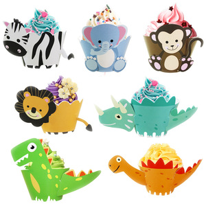 Dinosaur Cupcake Wrappers Toppers Party Supplies Birthday Dino Cake Decorations