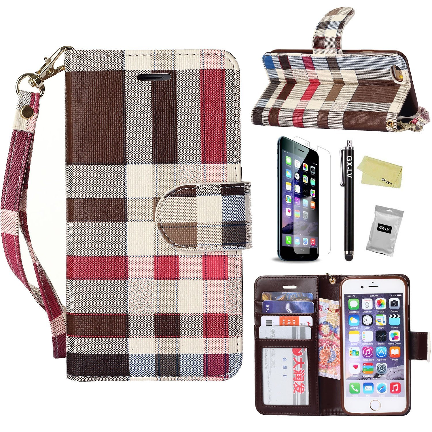 iPhone 6 Case, GX-LV Classic Plaid Pattern Wrist Strap Leather Wallet Cover Case with Card Slots for Apple iPhone 6 4.7 inch,GX-LV@ Retail Packaging,Classic Case - Brown1
